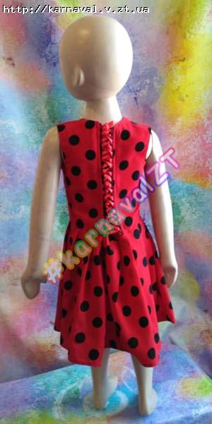 f44d35fed86 ... Детское праздничное платье красное с черными горохами - божья коровка