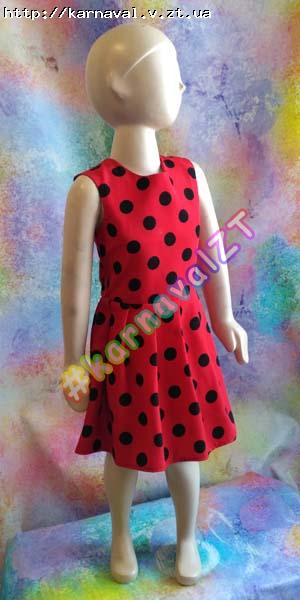 af6493c4a57 Детское праздничное платье красное с черными горохами - божья коровка